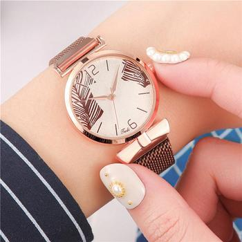 Leaves Dial Design Magnetic Watches Women Fashion Rose Gold Stainless Steel Watch With Mesh Strap Quality Ladies Wristwatches fashion deer head dial design hand made light wood watch with brown genuine leather strap bamboo wristwatches for men women