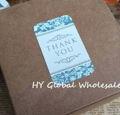 60PCS New Vintage THANK YOU Blue Pattern Seal Sticker Kraft Paper Sealing Sticker DIY Note Gift Package Labels