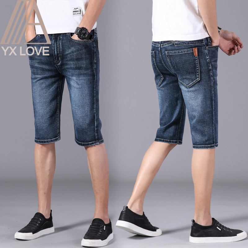 Mens Jeans 28-40 Size Knee Length Pants Slimming Daily Casual Wear Business Leisure Couple Dating Fashion Cropped Trousers