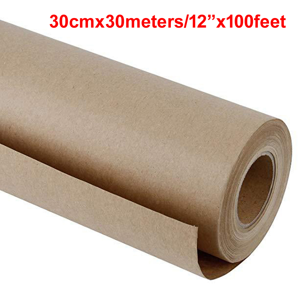 30 Meters Brown/white Kraft Wrapping Paper Roll For Wedding Birthday Party Gift Wrapping Parcel Packing Kraft Paper Art Craft
