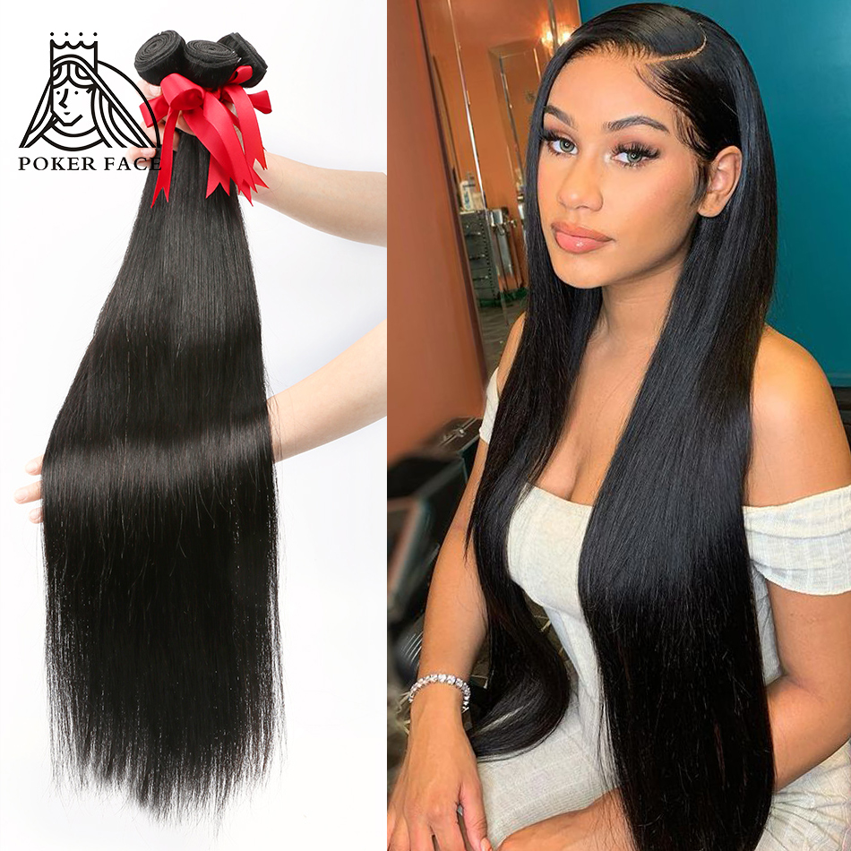 Poker rosto 28 30 32 40 Polegada pacotes de cabelo em linha reta 100% extensões do cabelo humano 3 4 pacotes ofertas tecer cabelo brasileiro pacotes