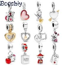 Boosbiy 2pc Sliver Plated Infinity Shine Love Heart Bead fit Pandora Charms Bracelets Trinket for Women DIYJewelry Making