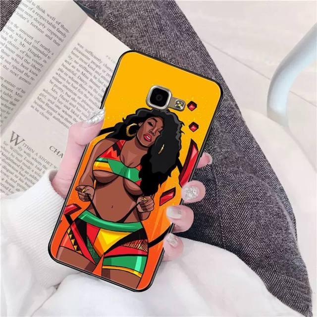 FHNBLJ Afro fille noire reine magique mélanine Poppin caoutchouc souple en polyuréthane thermoplastique housse de téléphone pour SamsungA10 20s 71 51 10 s 20 30 40 50 70 A30s