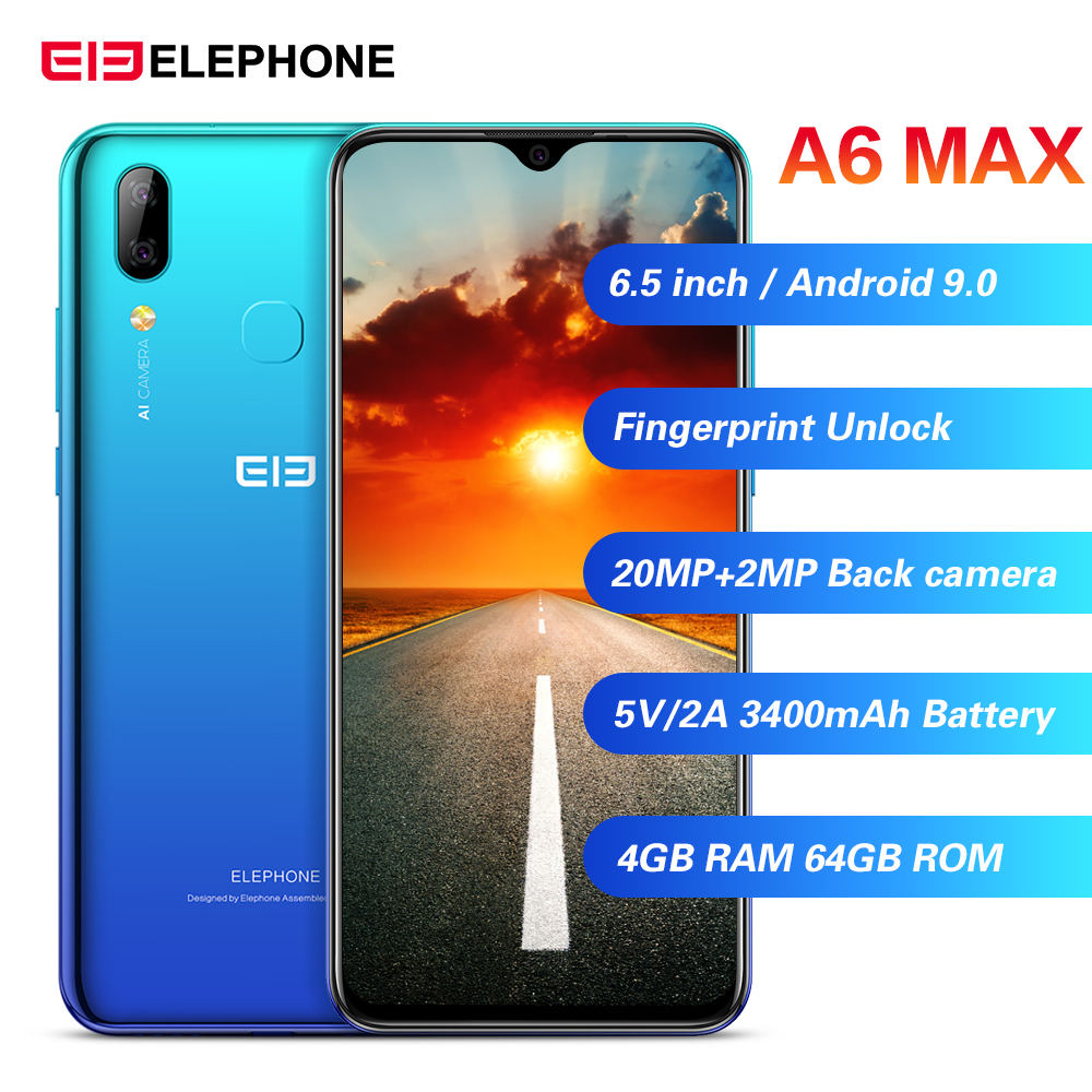 Elephone A6 Max 4G Smartphone Android 9.0 4GB RAM 64GB ROM MT6762V Quad Core 20MP Fingerprint 5V/2A 3400mAh OTG NFC Mobile Phone