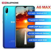 Elephone A6 Max 4G Смартфон Android 9,0 4 Гб ОЗУ 64 Гб ПЗУ MT6762V четырехъядерный 20MP отпечаток пальца 5 В/2A 3400 мАч OTG NFC мобильный телефон