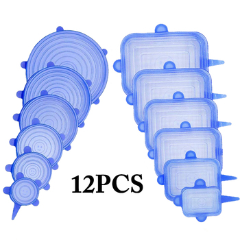 12pcs Reusable Silicone Food Cover Elastic Stretch Adjustable Bowl Lids Universal Kitchen Wrap Seal Fresh Keeping Silicone Caps - Blue 12pcs