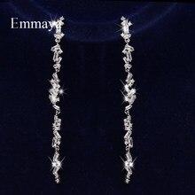 Emmaya – boucle d'oreille longue en Zircon cubique pour femmes, Design moderne, disposition irrégulière, bijoux fascinants pour femmes, robe Noble