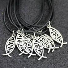 Lote 10 pçs moda ichthys jesus peixe pingente colar encantos jóias hj16