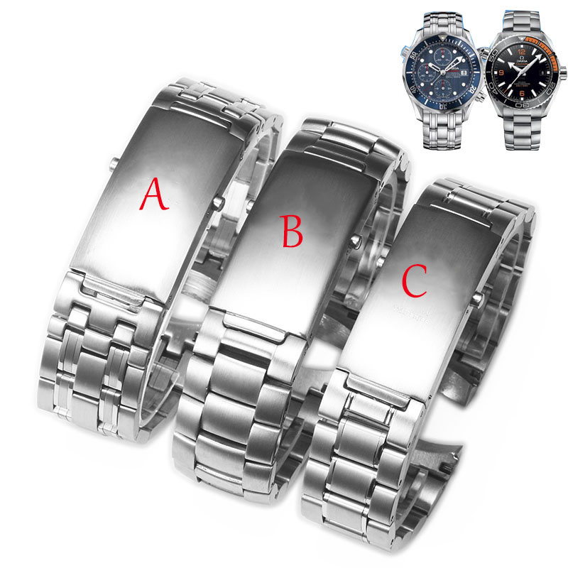 20mm 22mm Silver Stainless Steel Watch Bands Strap For Omega Ocean 007 Seamaster 300 Bracelet Watch Accessories