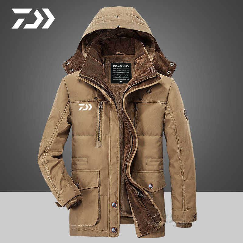 Daiwa Clothing Fishing For Winter Daiwa Jacket Men Fleece Thicken Thermal Fishing Jacket Hooded Windproof Zipper Fishing Clothes