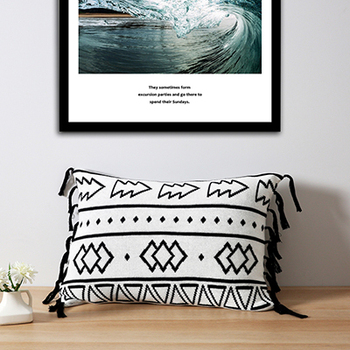 Black white aztec knitted cushion cover
