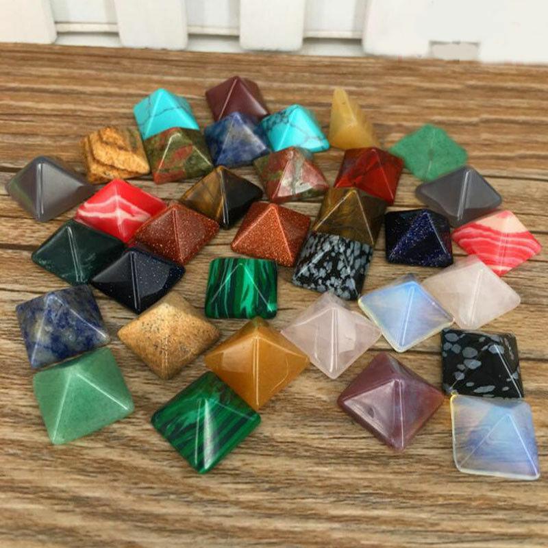 New 7pcs set Pyramid Gemstone Natural Stone Crystal Quartz Healing Point Chakra Home Office Decoration Crafts