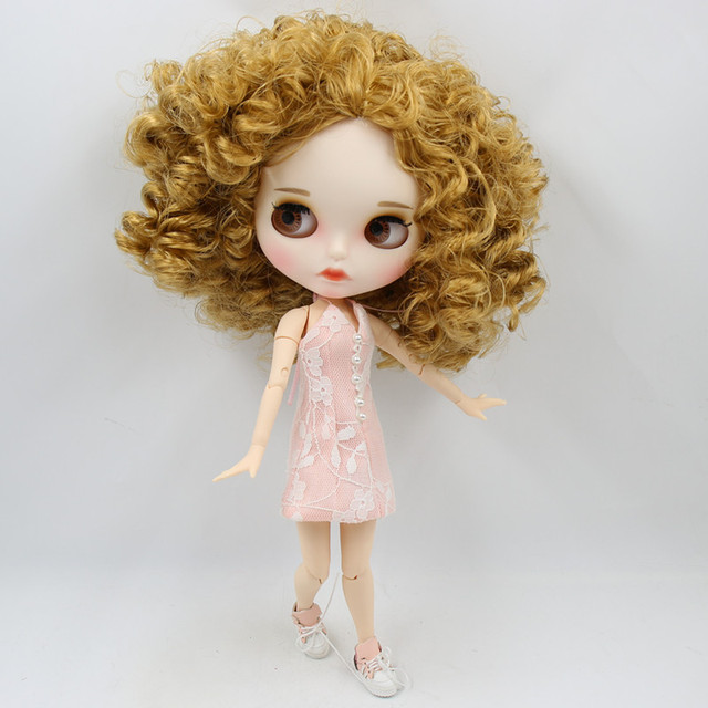 ICY factory 1/6 blyth doll white skin joint body New matte face Carved lips with eyebrows Afro hair DIY sd gift toy