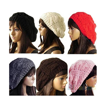 YSDNCHI Beret Braided Hats Baggy Beanie Crochet Warm Winter Hat Ski Cap Wool Knitted Caps Fashion Women Lady Drop Shipping - discount item  5% OFF Hats & Caps