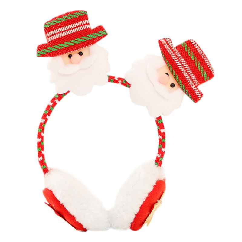Kid Adult Winter Christmas Santa Claus Double Doll Earmuff Warmer Headband Clasp LX9D