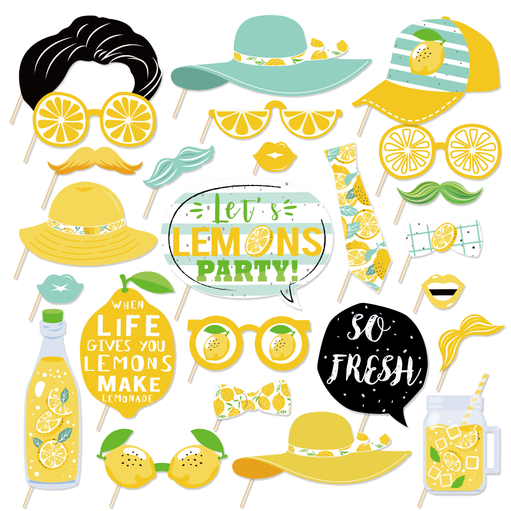 Let's Lemon Party Decorations DIY Photobooth Props Summer Fresh Fruit Party Lemon Photobooth Props Happy Birthday Party Supplies