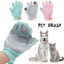 Dog and Cat Brush Pet Hair Grooming Gloves Silicone Remove Dirt Massage Supplies Drop shipping