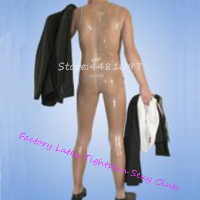 100% Nature Latex Rubber Transperant Sleeveless Bodysuit Zentai Leotard Latex Rubber Fetish Bodysuit With Front Zip For Men