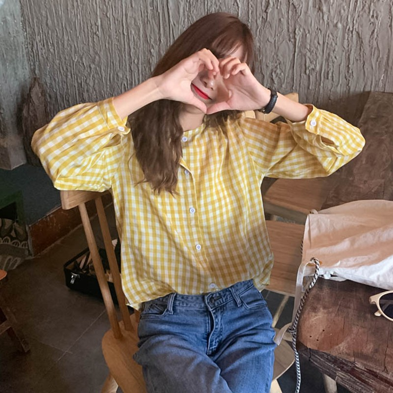 Fashion Women Plaid Tops And Blouses Long Sleeve Sweet Shirts Ladies O Neck Loose Casual Korean Shirts Blusas Femininas