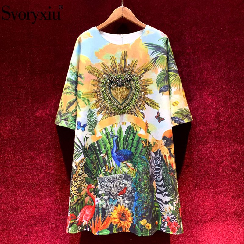 Svoryxiu luxury Runway Autumn Winter Loose Short Dress Women's Fashion Half Sleeve Diamond Hand Painted Animal Printed Dresses