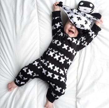 2020 New Fashion Baby Clothing Set Unisex Cotton Long Sleeve Cross Pattern Toddler Romper Newborn Baby Boy Girl Clothes Set
