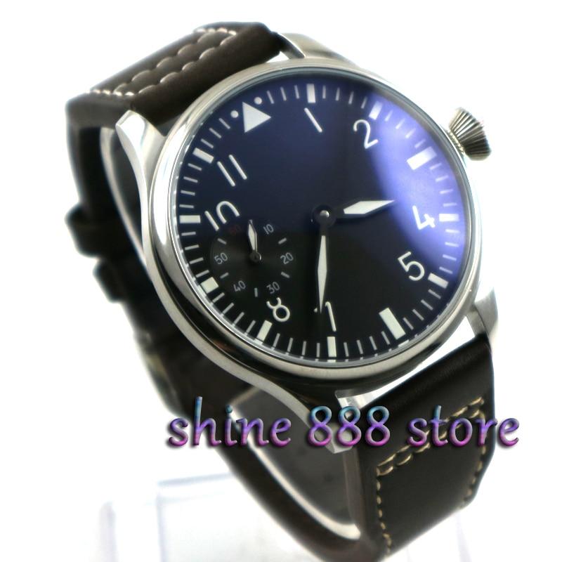 2016 New Fashion 44mm PARNIS Pilot 6497 Mechanical Hand Wind Movement Men's Watch Wholesale