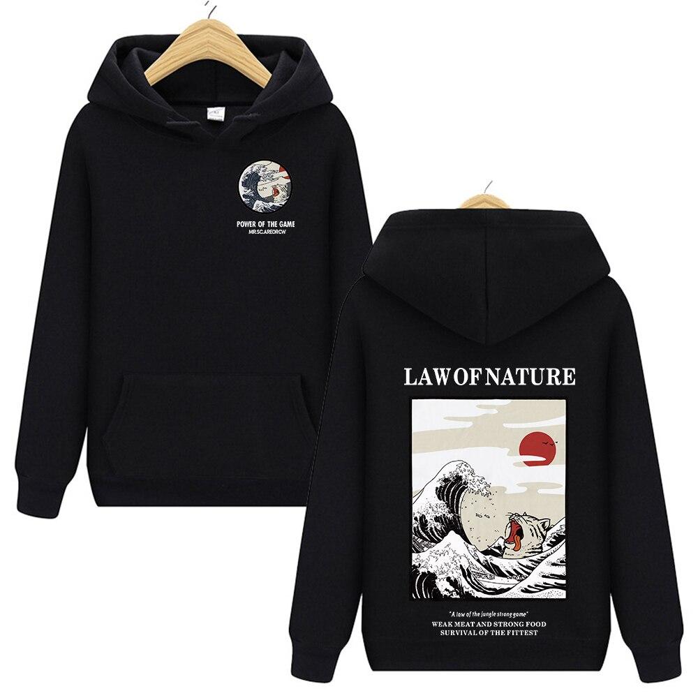 Harajuku Japanese Embroidery Funny Cat Wave Printed Fleece Hoodies 2019 Winter Japan Style Hip Hop Casual Sweatshirts Streetwear