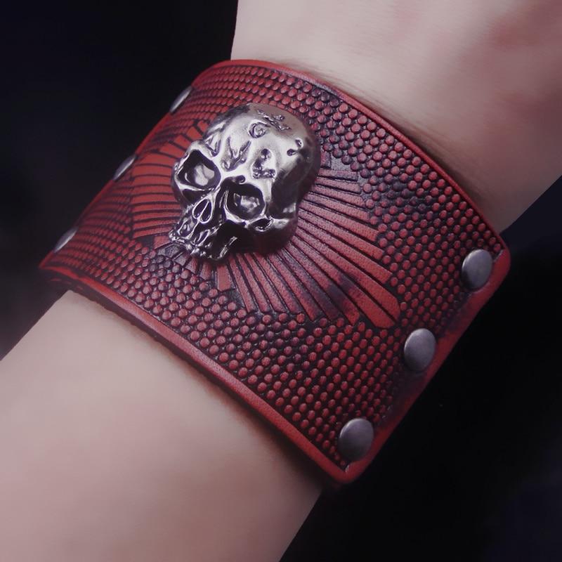 Bracelet à double pont Thomaswylde rétro en peau de chat rouge terne bracelet large pour hommes et femmes bracelet d'ornement bracelet guerrier