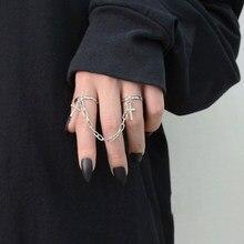 Anel de prata anel de cruz de hip-hop do punk retro anel de mão corrente de dedo ajustável anéis de jóias presente para homens