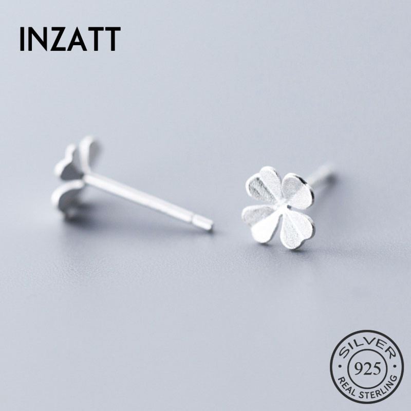 INZATT Real 925 Sterling Silver MInimalist Flower Stud Earring For Fashion Women Birthday part Cute Fine Jewelry Accessories