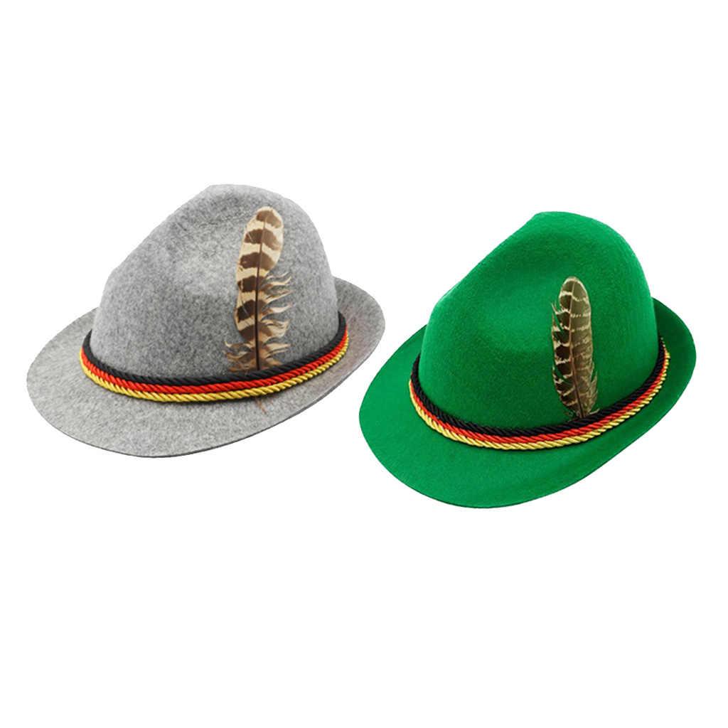 Bavarian Oktoberfest German Beer Festive Hat Accessory Classic Feather