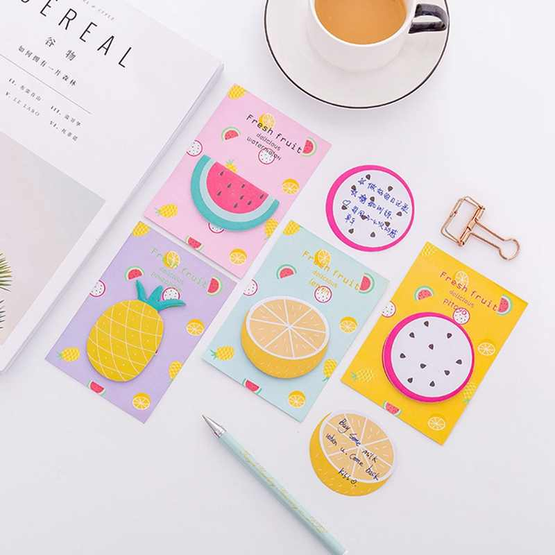 New 30 Sheets 12*8.5cm Size Fresh Fruit Memo Pad Sticky Notes Notepad Bookmark Paper Sticker Kids Students School Office Supply