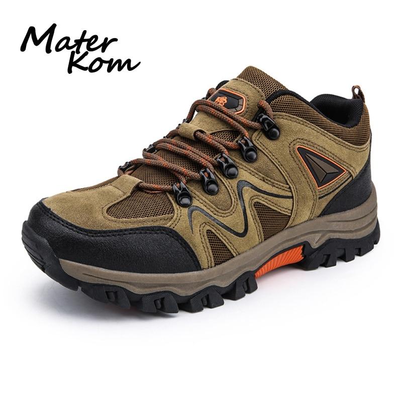 Sapatos de Trekking para Homens Sapatos de Escalada de Montanha ao ar Tênis para Caminhadas Moda Couro Respirável Livre Antiderrapante Botas Buty Trekingowe