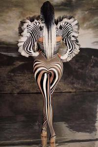 Image 4 - Yeni stil Zebra desen tulum kadın şarkıcı seksi sahne kıyafet Bar DS dans Cosplay Bodysuit kostüm balo elbise