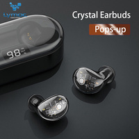 LYMOC X7 Crystal Earphones Bluetooth 5.0 Headsets Latest Pops Up Open Box Connect Wireless Earbuds Touch Control Bass Headphones