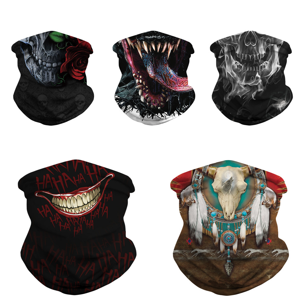 New Skull Skull Digital Print Magic Scarf Personalized Mask Quick-Dry Sweat Absorbing Outdoor Riding Protection