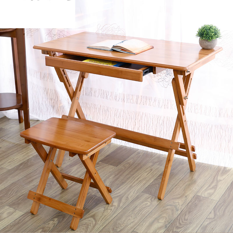 Folden Children Table & Chairs Set Natural Bamboo Folding Desk Stable 4 Gears Lifting Kids Study Tables Durable Reading Table