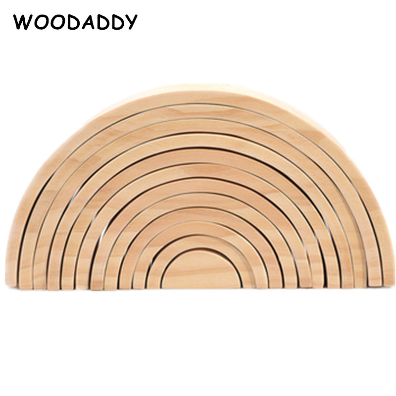Livraison directe Nature bois arc-en-ciel blocs non peints arc-en-ciel série blocs de construction en bois jouets pour enfants demi-cercle/couverture boîte cadeau