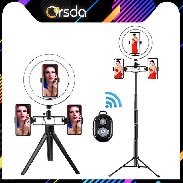 Orsda Led مصباح مصمم على شكل حلقة selfie مصباح مصباح إضاءة الاستوديو الفيديو حلقة مصباح مع ترايبود للصور يوتيوب تيك توك هايت 3500 5500k