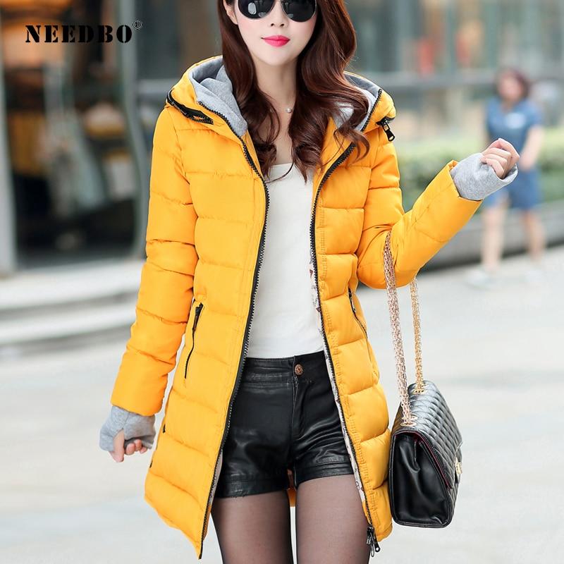 Женская куртка-пуховик NEEDBO, Длинная зимняя куртка-пуховик с капюшоном, пуховик на осень-зиму, светильник
