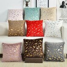 Housse de coussin décorative en peluche avec plumes dorées, taie d'oreiller, pour la maison, canapé, vente en gros, 45x45cm