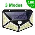 180 100 светодиодный солнечный светильник, наружная Солнечная лампа с датчиком движения, Солнечный светодиодный светильник, водонепроницаемы...
