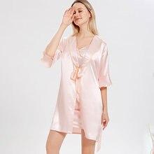 Ночная рубашка женская из искусственного шелка ночная для невесты