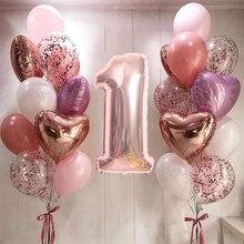 21 pçs 32 polegada número folha balões látex confetes hélio balões festa de aniversário do casamento decoração suprimentos chá de fraldas globos