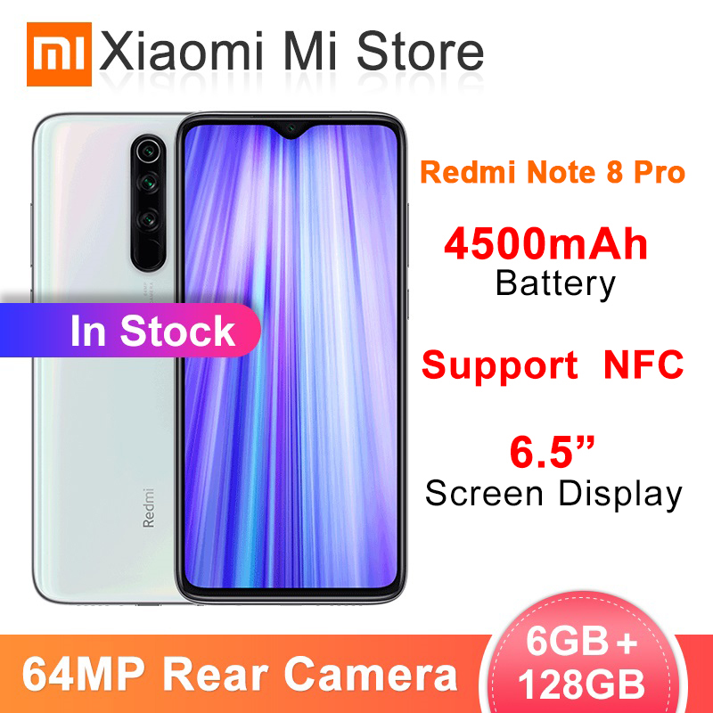 Xiaomi Original Redmi Note 8 Pro 6GB RAM 128GB ROM 64 MP Quad Cameras MTK Helio G90T Smartphone 4500mAh 18W QC 3.0 UFS 2.1 NFC
