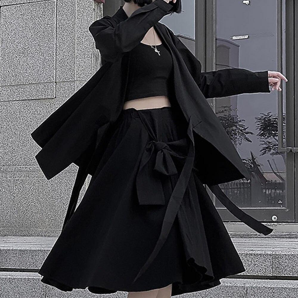 2020 New Harajuku Japanese Style Black Coat Women Gothic Fashion Lace Up Loose Oversize Jacket Long Sleeve Outwear Casual Coats