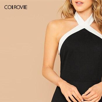 COLROVIE Black Contrast Halterneck Bodycon Dress Women Sleeveless Sexy Backless Mini Dress 2020 Slim Elegant Pencil Dresses 4