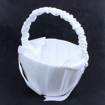 New White Satin Beaded Wedding Flower Girl Basket Bowknot Decor
