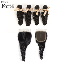 Remy Forte Loose Wave Bundles With Closure 30 Inch  Brazilian Hair Weave 3 /4