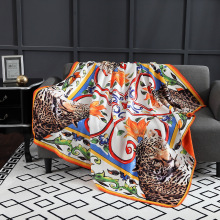 Leopard printed throw blanket luxury decorative fleece blanket Elegant on the Couch beds